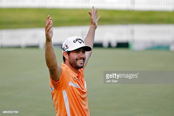 Adam Hadwin of Canada celebrates after making a birdie on the 18th hole during the second round of the John Deere Classic held at TPC Deere Run on...