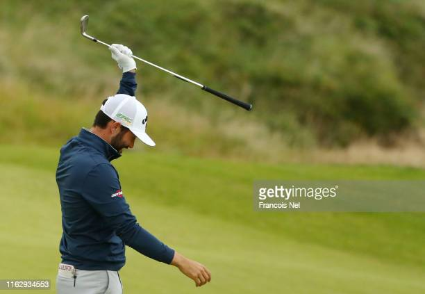 Adam Hadwin of Canada celebrates an eagle on the 3rd hole during the second round of the 148th Open Championship held on the Dunluce Links at Royal...