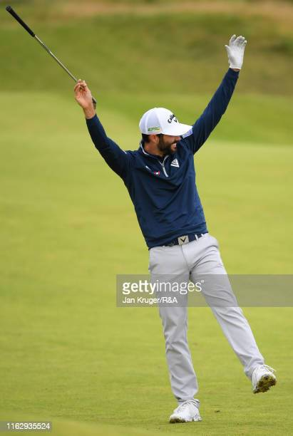 Adam Hadwin of Canada celebrates his second shot to make an eagle on the eighth hole during the second round of the 148th Open Championship held on...