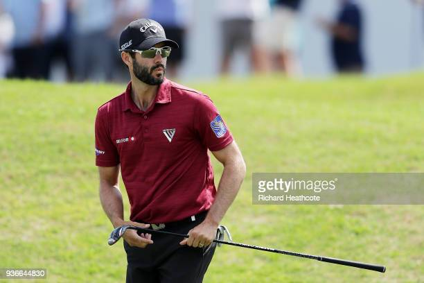Adam Hadwin of Canada chips on the 15th hole during the second round of the World Golf ChampionshipsDell Match Play at Austin Country Club on March...