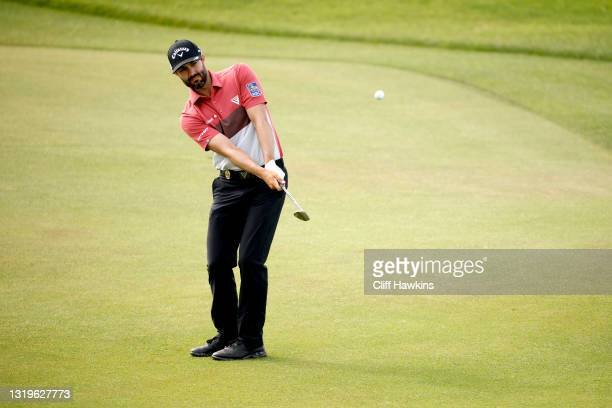Adam Hadwin of Canada chips on the sixth green during the final round of the 2021 PGA Championship held at the Ocean Course of Kiawah Island Golf...