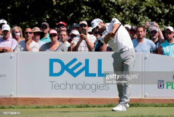 Adam Hadwin of Canada drives from the 1st tee during the Final Round of the Dell Technologies Championship on September 3 at TPC Boston in Norton,...