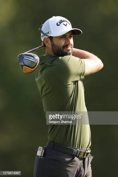 Adam Hadwin of Canada hits his shot on the sixth tee during the second round of the 120th U.S. Open Championship on September 18, 2020 at Winged Foot...