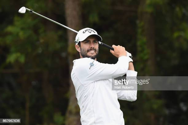 Adam Hadwin of Canada hits his tee shot on the 7th hole during the first round of the CJ Cup at Nine Bridges on October 19 2017 in Jeju South Korea