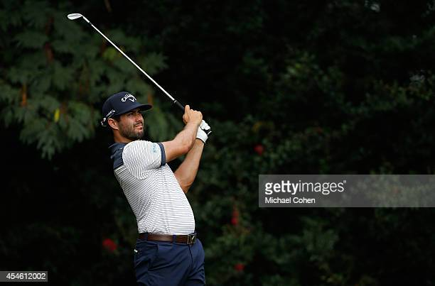 Adam Hadwin of Canada hits his tee shot on the fourth hole during the first round of the Chiquita Classic held at River Run Country Club on September...