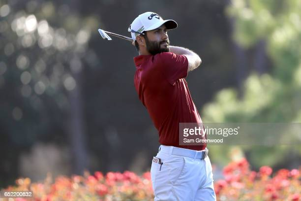Adam Hadwin of Canada hits off the 17th tee during the third round of the Valspar Championship at Innisbrook Resort Copperhead Course on March 11...