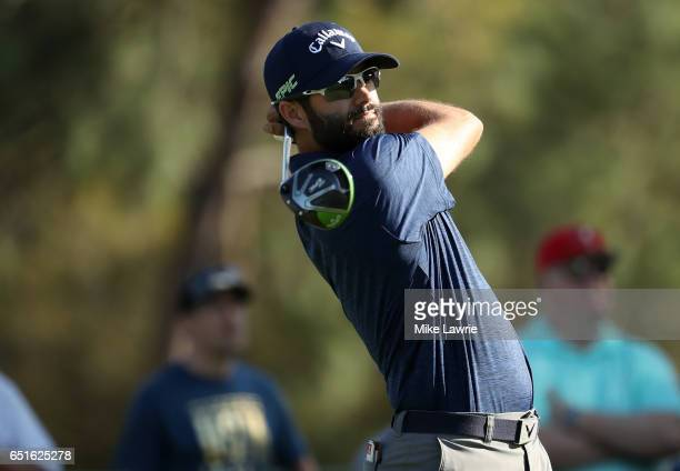 Adam Hadwin of Canada hits off the 18th tee during the second round of the Valspar Championship at Innisbrook Resort Copperhead Course on March 10...