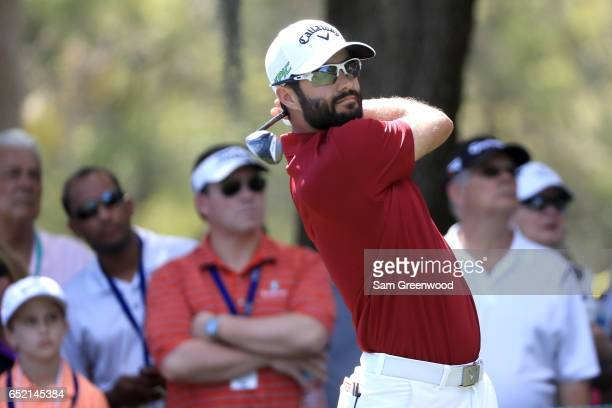 Adam Hadwin of Canada hits off the second tee during the third round of the Valspar Championship at Innisbrook Resort Copperhead Course on March 11...