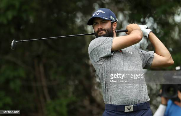 Adam Hadwin of Canada hits off the third tee during the final round of the Valspar Championship at Innisbrook Resort Copperhead Course on March 12...