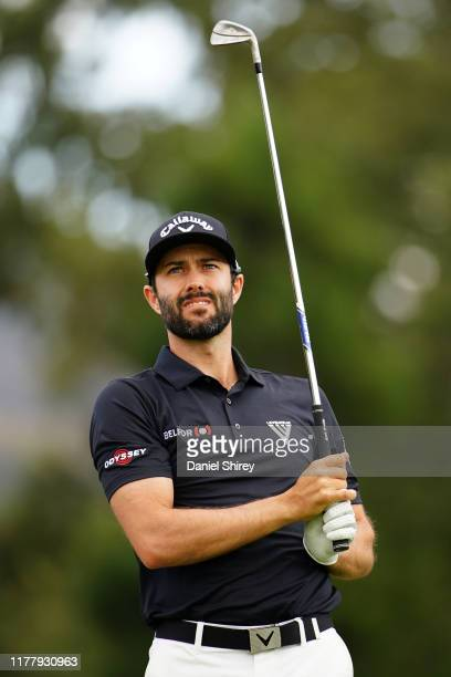 Adam Hadwin of Canada hits on the second tee during the final round of the Safeway Open at the Silverado Resort on September 29, 2019 in Napa,...