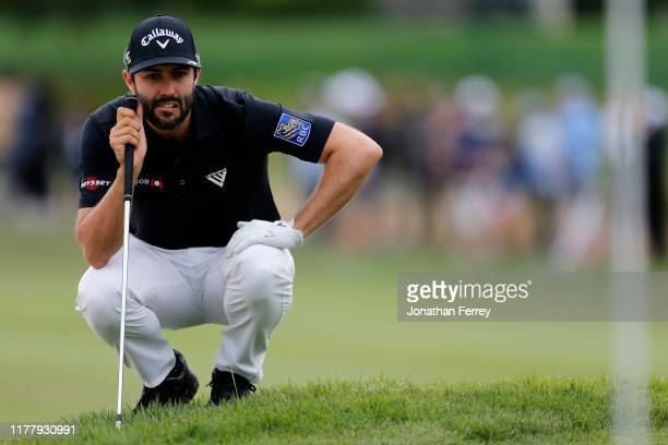 Adam Hadwin of Canada lines up a putt the second tee during the final round of the Safeway Open at the Silverado Resort on September 29, 2019 in...