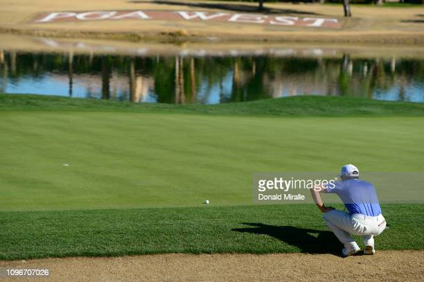 Adam Hadwin of Canada lines up a shot on the 18th hole during the third round of the Desert Classic at the Jack Nicklaus Tournament Course on January...