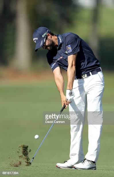 Adam Hadwin of Canada plays a shot during practice for THE PLAYERS Championship on the Stadium Course at TPC Sawgrass on May 10 2017 in Ponte Vedra...
