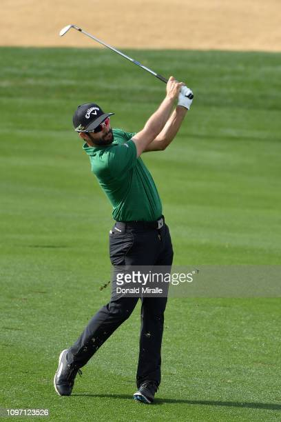 Adam Hadwin of Canada plays a shot during the final round of the Desert Classic at the Stadium Course on January 20 2019 in La Quinta California