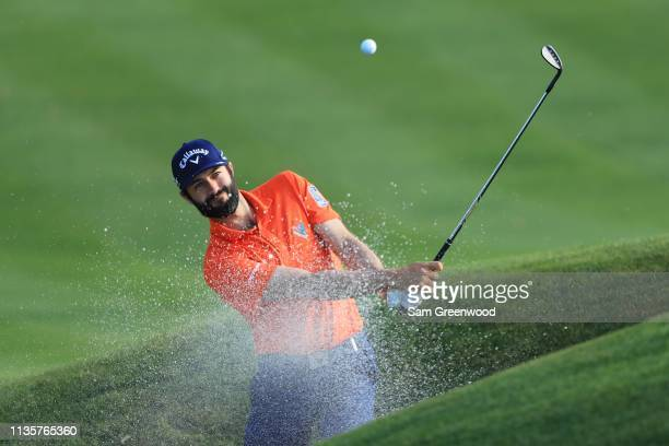 Adam Hadwin of Canada plays a shot from a bunker on the second hole during the first round of The PLAYERS Championship on The Stadium Course at TPC...