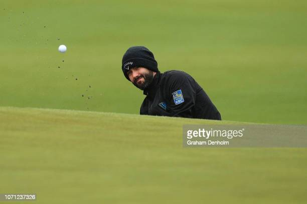 Adam Hadwin of Canada plays a shot from the bunker during day two of the 2018 World Cup of Golf at The Metropolitan on November 23, 2018 in...