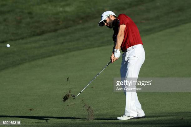 Adam Hadwin of Canada plays a shot on the 14th hole during the third round of the Valspar Championship at Innisbrook Resort Copperhead Course on...