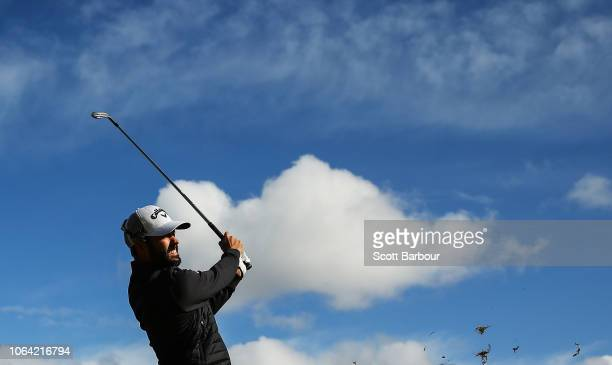Adam Hadwin of Canada plays a shot on the 1st hole during day one of the 2018 World Cup of Golf at The Metropolitan on November 22, 2018 in...