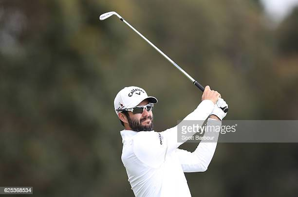 Adam Hadwin of Canada plays a shot on the 1st hole during day one of the World Cup of Golf at Kingston Heath Golf Club on November 24 2016 in...