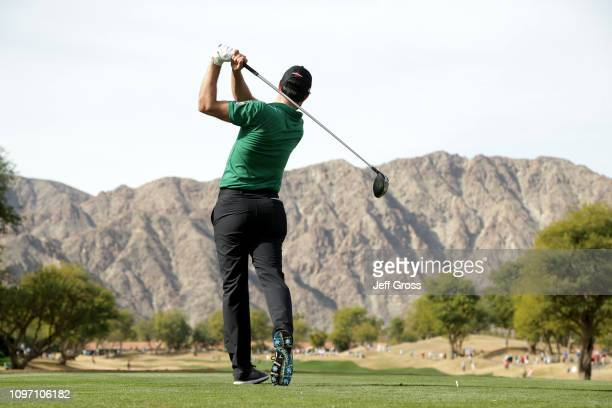 Adam Hadwin of Canada plays a shot on the 3rd tee during the final round of the Desert Classic at the Stadium Course on January 20 2019 in La Quinta...