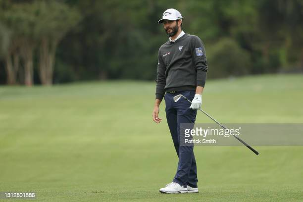 Adam Hadwin of Canada plays a shot on the sixth hole during the second round of the RBC Heritage on April 16, 2021 at Harbour Town Golf Links in...
