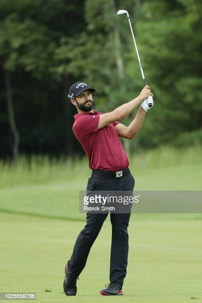 Adam Hadwin of Canada plays a shot on the tenth hole during the first round of the Dell Technologies Championship at TPC Boston on August 31 2018 in...
