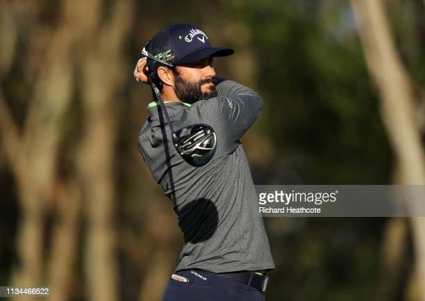 Adam Hadwin of Canada plays a shot on the third tee during the second round of the Arnold Palmer Invitational Presented by Mastercard at the Bay Hill...