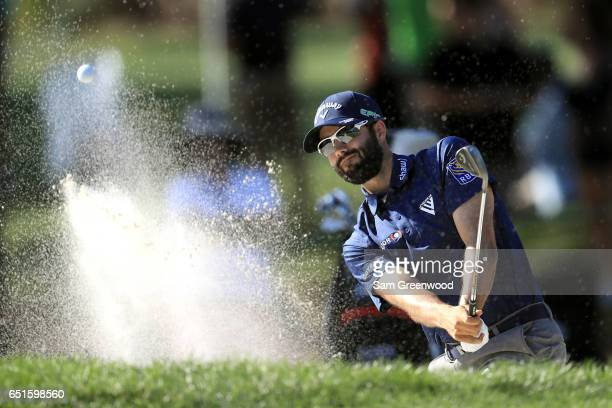 Adam Hadwin of Canada plays a shot out of a bunker on the 16th hole during the second round of the Valspar Championship at Innisbrook Resort...