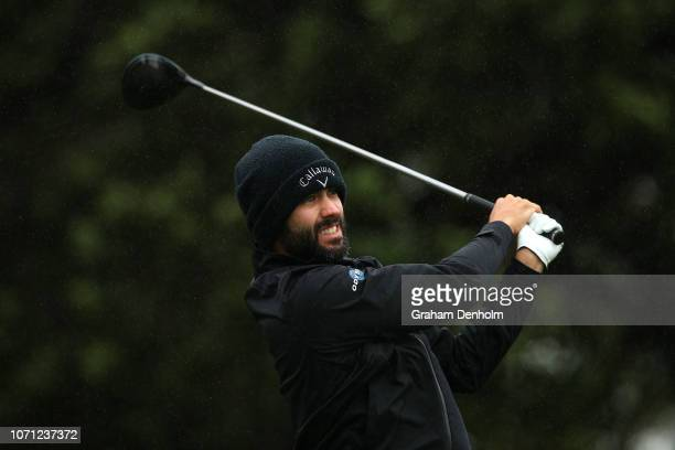 Adam Hadwin of Canada plays a tee shot during day two of the 2018 World Cup of Golf at The Metropolitan on November 23 2018 in Melbourne Australia