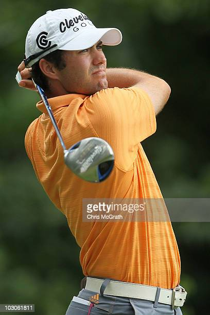 Adam Hadwin of Canada plays from the 15th tee during round two of the 2010 RBC Canadian Open at St. George's Golf and Country Club on July 23, 2010...
