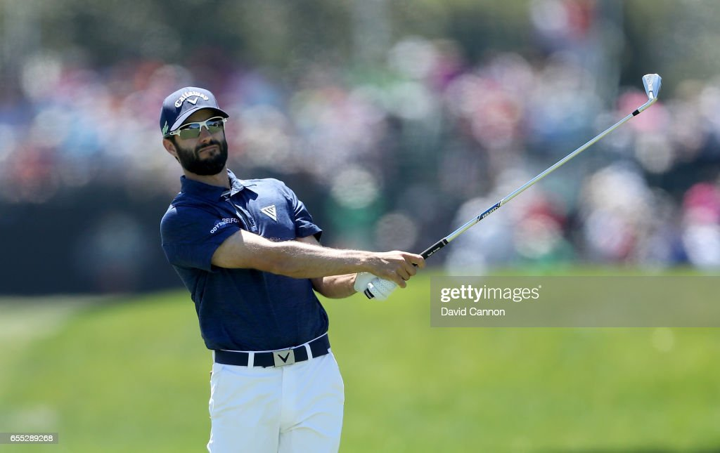 Adam Hadwin of Canada plays his second shot at the par 4, first hole during the final round of the 2017 Arnold Palmer Invitational presented by MasterCard on March 19, 2017 in Orlando, Florida.