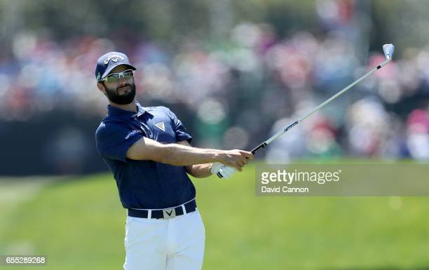 Adam Hadwin of Canada plays his second shot at the par 4 first hole during the final round of the 2017 Arnold Palmer Invitational presented by...