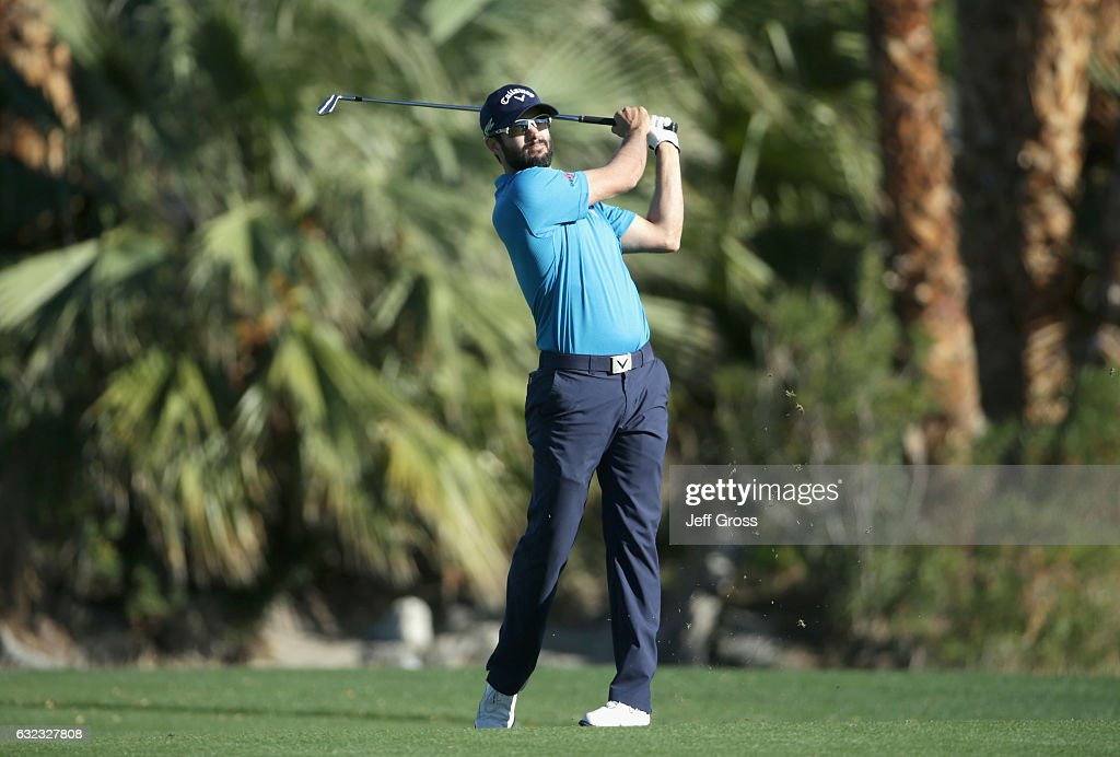 Adam Hadwin of Canada plays his second shot on the 18th hole during the third round of the CareerBuilder Challenge in Partnership with The Clinton Foundation at La Quinta Country Club on January 21, 2017 in La Quinta, California.
