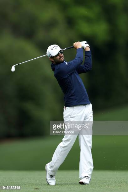 Adam Hadwin of Canada plays his second shot on the fifth hole during the final round of the 2018 Masters Tournament at Augusta National Golf Club on...