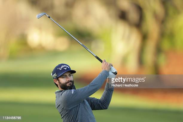 Adam Hadwin of Canada plays his second shot on the first hole during the second round of the Arnold Palmer Invitational Presented by Mastercard at...