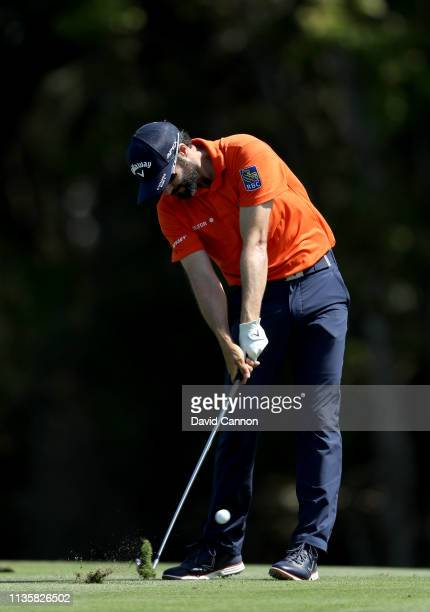 Adam Hadwin of Canada plays his second shot on the par 4 14th hole during the first round of the 2019 Players Championship held on the Stadium Course...
