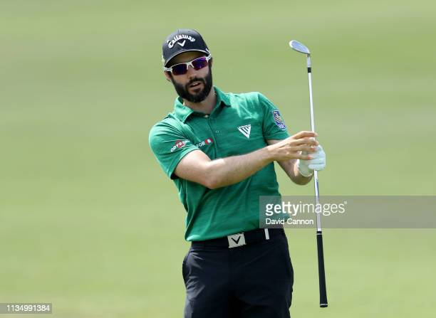 Adam Hadwin of Canada plays his second shot on the par 4 first hole during the final round of the 2019 Arnold Palmer Invitational at the Arnold...