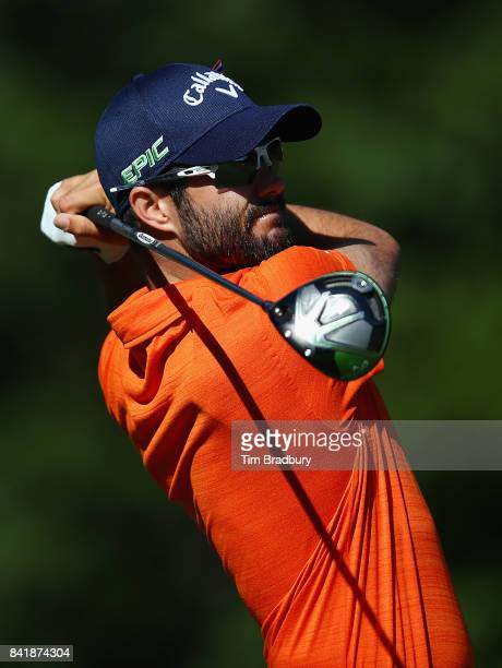 Adam Hadwin of Canada plays his shot from the 13th tee during round two of the Dell Technologies Championship at TPC Boston on September 2 2017 in...