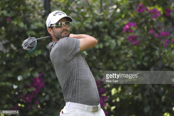 Adam Hadwin of Canada plays his shot from the 14th tee during the second round of World Golf ChampionshipsMexico Championship at Club de Golf...