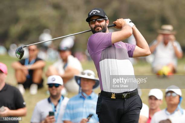 Adam Hadwin of Canada plays his shot from the 15th tee during the third round of the 2021 U.S. Open at Torrey Pines Golf Course on June 19, 2021 in...