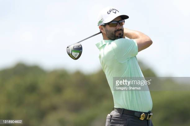 Adam Hadwin of Canada plays his shot from the 16th tee during a practice round prior to the 2021 PGA Championship at Kiawah Island Resort's Ocean...