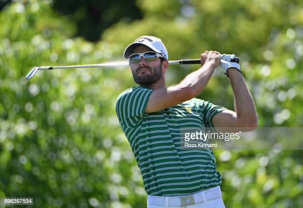 Adam Hadwin of Canada plays his shot from the 16th tee during the first round of the 2017 US Open at Erin Hills on June 15 2017 in Hartford Wisconsin