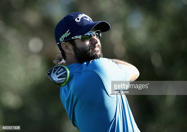 Adam Hadwin of Canada plays his shot from the 17th tee during the third round of the CareerBuilder Challenge in Partnership with The Clinton...