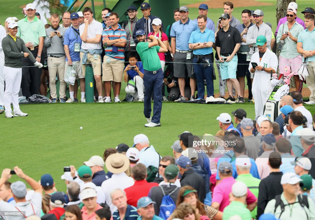 Adam Hadwin of Canada plays his shot from the 18th tee during a practice round prior to the start of the 2017 Masters Tournament at Augusta National Golf Club on April 5, 2017 in Augusta, Georgia.