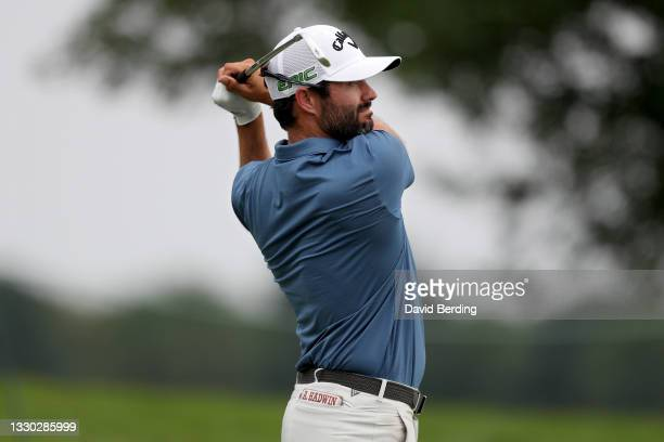 Adam Hadwin of Canada plays his shot from the eighth tee during the Second Round of the 3M Open at TPC Twin Cities on July 23, 2021 in Blaine,...