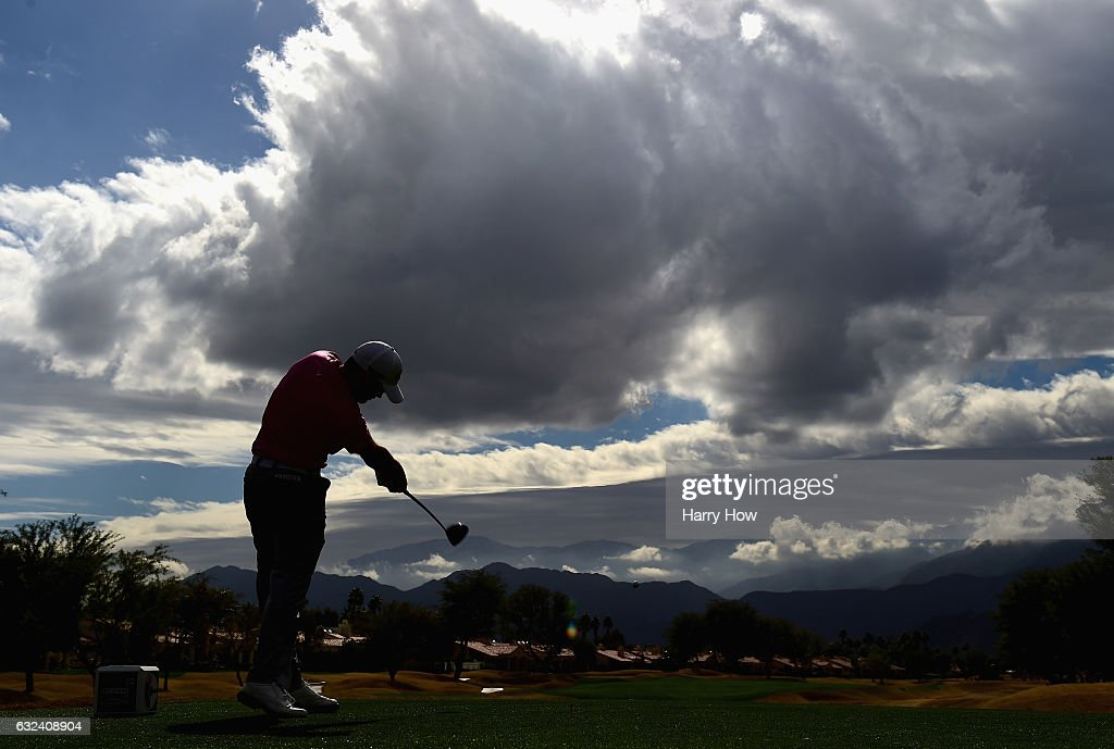 Adam Hadwin of Canada plays his shot from the eighth tee during the final round of the CareerBuilder Challenge in partnership with The Clinton Foundation at the TPC Stadium Course at PGA West on January 22, 2017 in La Quinta, California.