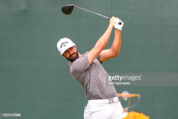 Adam Hadwin of Canada plays his shot from the first tee during the third round of The Northern Trust on August 25, 2018 at the Ridgewood Championship...