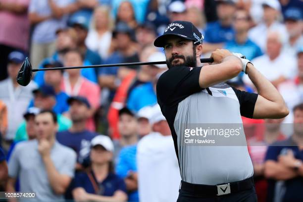 Adam Hadwin of Canada plays his shot from the first tee during the second round of the BMW Championship at Aronimink Golf Club on September 7 2018 in...