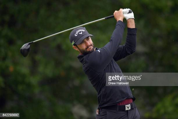Adam Hadwin of Canada plays his shot from the fourth tee during round three of the Dell Technologies Championship at TPC Boston on September 3 2017...