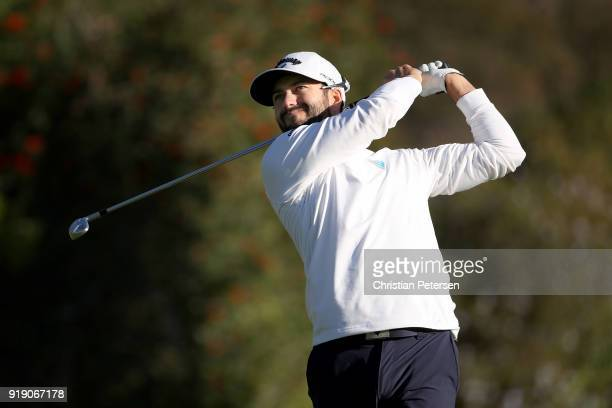 Adam Hadwin of Canada plays his shot from the fourth tee during the second round of the Genesis Open at Riviera Country Club on February 16 2018 in...